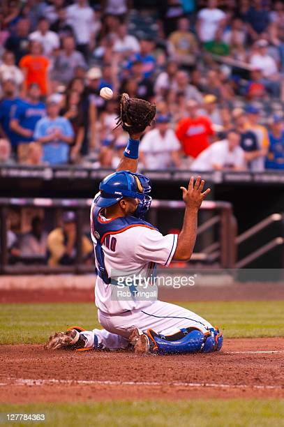 Ronny Paulino of the New York Mets fields his position during the game against the Milwaukee Brewers at Citi Field on August 20 2011 in the Flushing...