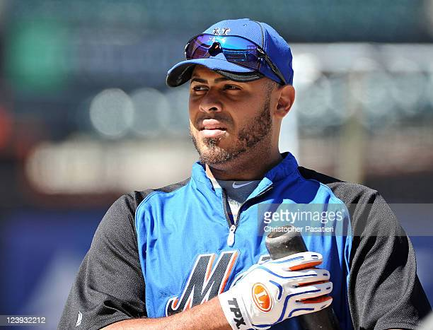 Ronny Paulino of the New York Mets looks on during batting practice prior to the game against the Florida Marlins at Citi Field on August 29 2011 in...