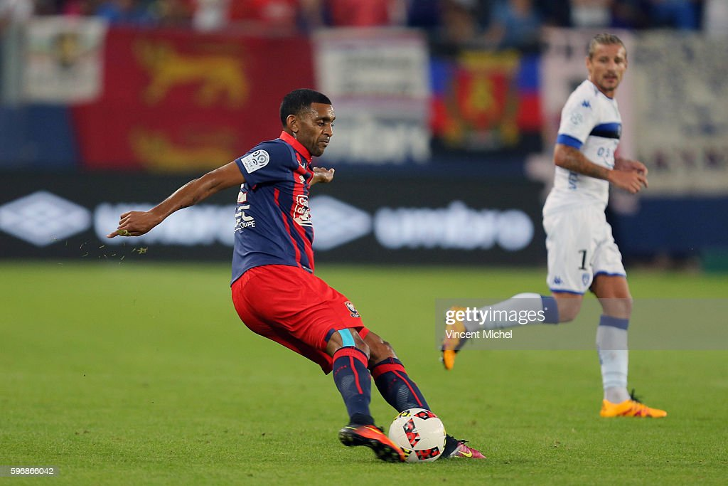 Ronny Rodelin of Caen during the French Ligue 1 match between SM Caen an Bastia at Stade Michel D'Ornano on August 27 2016 in Caen France