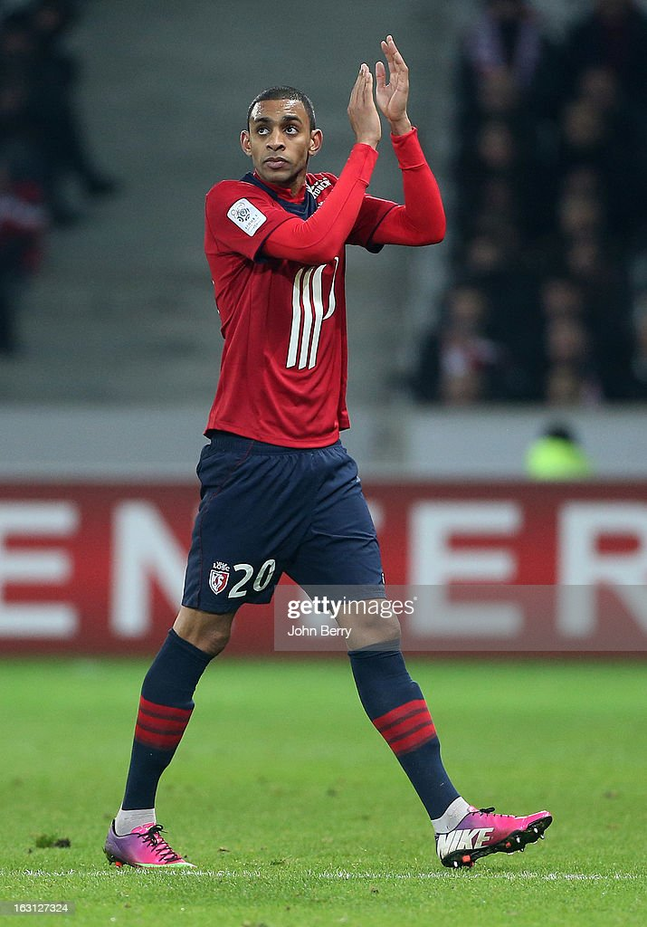 Ronny Rodelin of Lille celebrates his goal during the french Ligue 1 match between Lille LOSC and FC Girondins de Bordeaux at the Grand Stade Lille Metropole on March 3, 2013 in Lille, France.