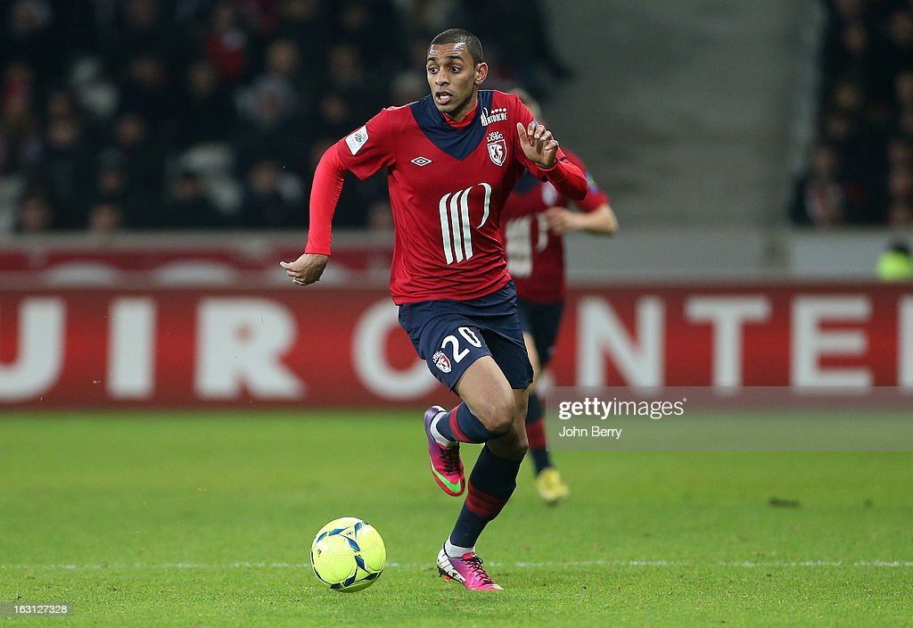 Ronny Rodelin of Lille in action during the french Ligue 1 match between Lille LOSC and FC Girondins de Bordeaux at the Grand Stade Lille Metropole on March 3, 2013 in Lille, France.