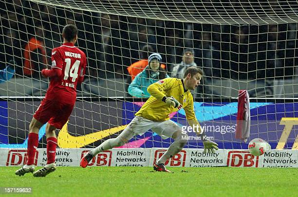 Ronny scores the second goal during the Second Bundesliga match between Hertha BSC Berlin and 1FC Koeln at Olympic stadium on November 29 2012 in...