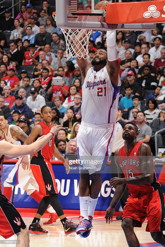 <a gi-track='captionPersonalityLinkClicked' href=/galleries/search?phrase=Ronny+Turiaf&family=editorial&specificpeople=224998 ng-click='$event.stopPropagation()'>Ronny Turiaf</a> #21 of the Los Angeles Clippers attempts to dunk the ball against the Toronto Raptors on December 9, 2012 at the Staples Center in Los Angeles, California.