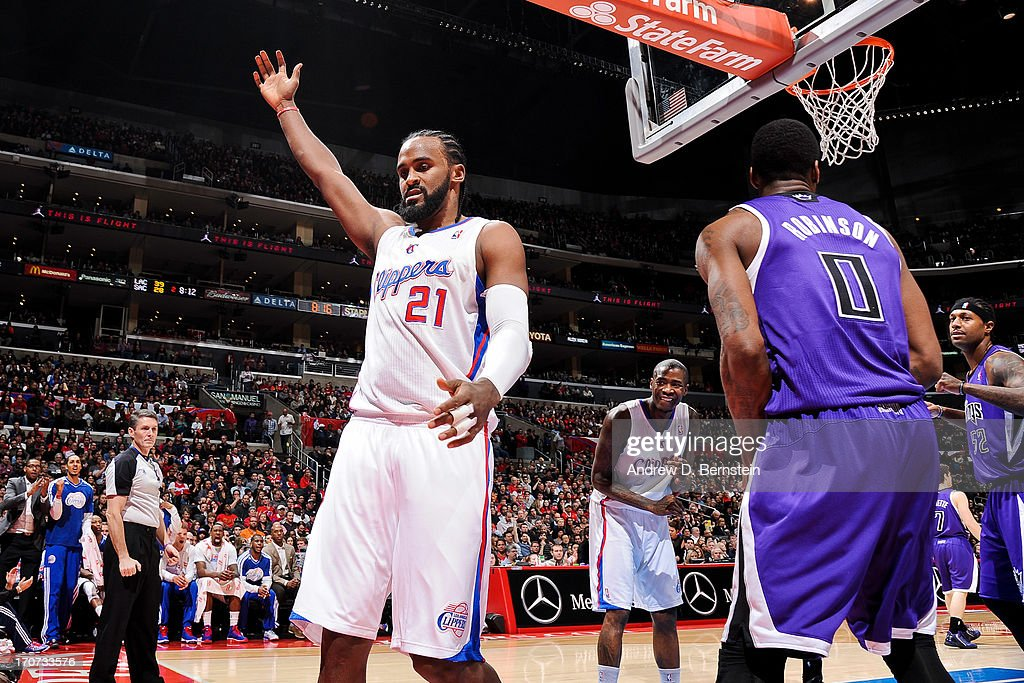 Ronny Turiaf #21 of the Los Angeles Clippers celebrates while playing the Sacramento Kings at Staples Center on December 21, 2012 in Los Angeles, California.