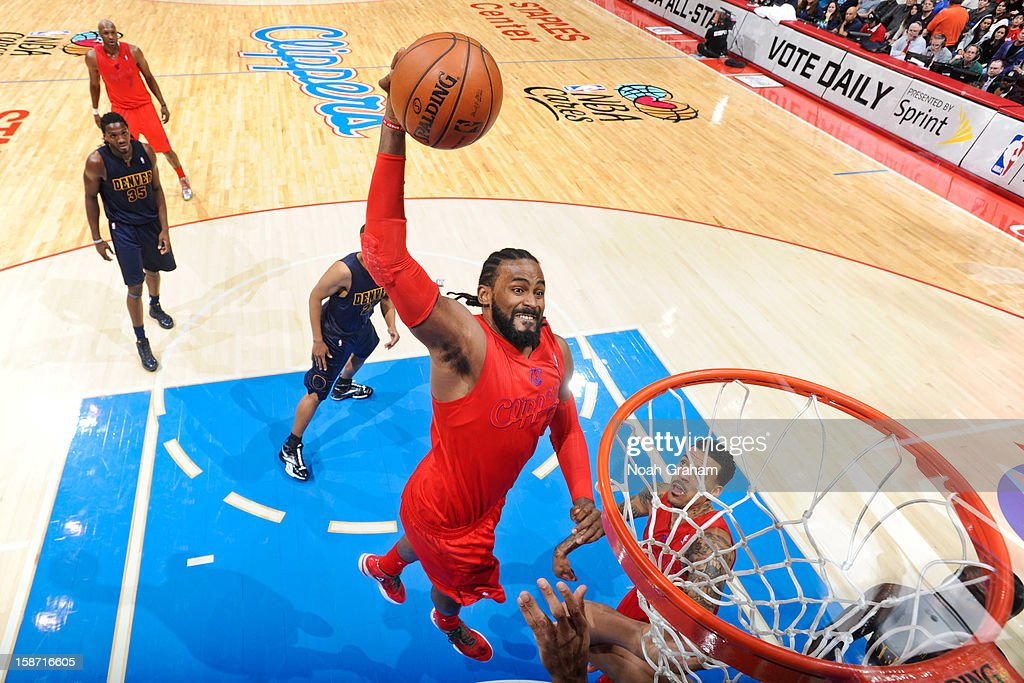 Ronny Turiaf #21 of the Los Angeles Clippers dunks against the Denver Nuggets during a Christmas Day game at Staples Center on December 25, 2012 in Los Angeles, California.