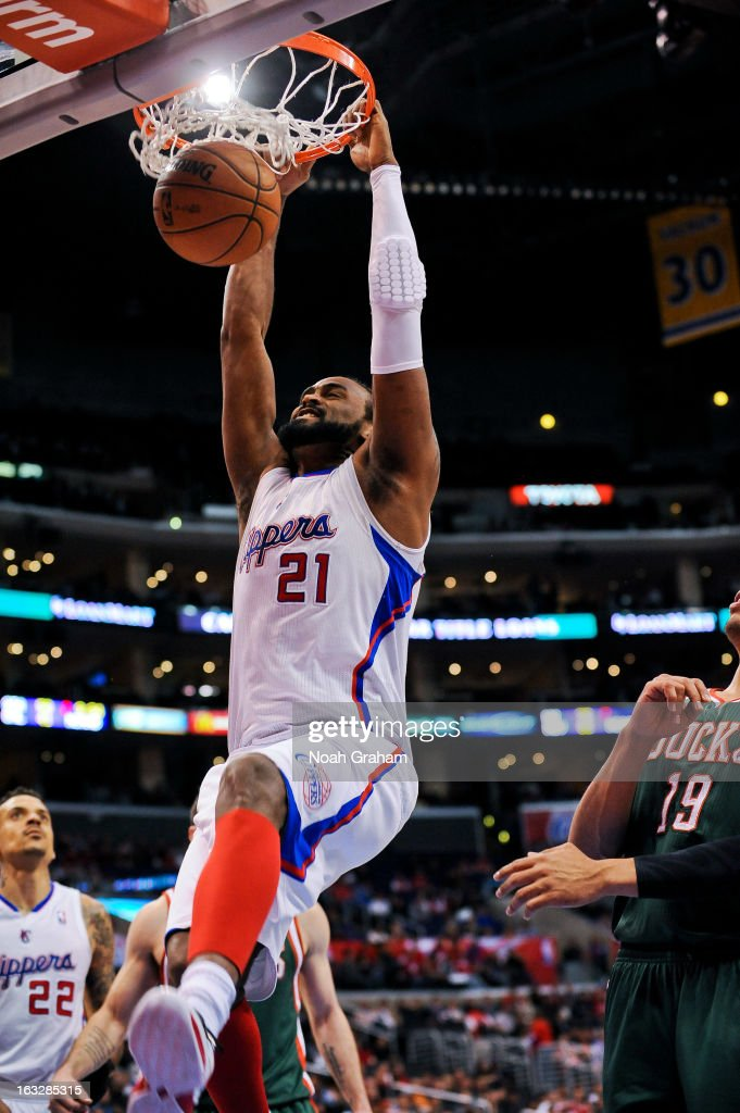 Ronny Turiaf #21 of the Los Angeles Clippers dunks against the Milwaukee Bucks at Staples Center on March 6, 2013 in Los Angeles, California.