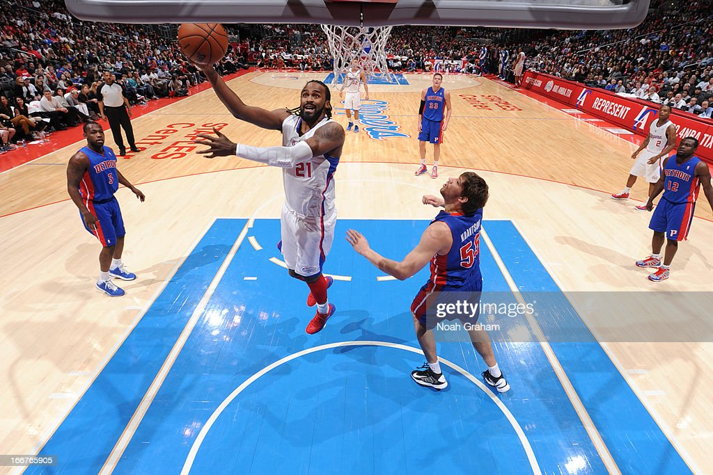 <a gi-track='captionPersonalityLinkClicked' href=/galleries/search?phrase=Ronny+Turiaf&family=editorial&specificpeople=224998 ng-click='$event.stopPropagation()'>Ronny Turiaf</a> #21 of the Los Angeles Clippers goes up for the layup against the Detroit Pistons at Staples Center on March 10, 2013 in Los Angeles, California.