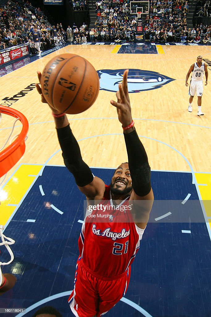 Ronny Turiaf #21 of the Los Angeles Clippers grabs a rebound against the Memphis Grizzlies on January 14, 2013 at FedExForum in Memphis, Tennessee.