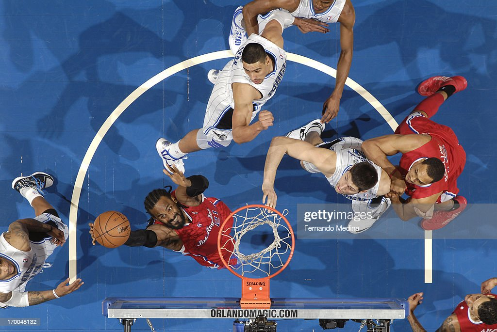 <a gi-track='captionPersonalityLinkClicked' href=/galleries/search?phrase=Ronny+Turiaf&family=editorial&specificpeople=224998 ng-click='$event.stopPropagation()'>Ronny Turiaf</a> #21 of the Los Angeles Clippers grabs the rebound against the Orlando Magic on February 6, 2013 at Amway Center in Orlando, Florida.