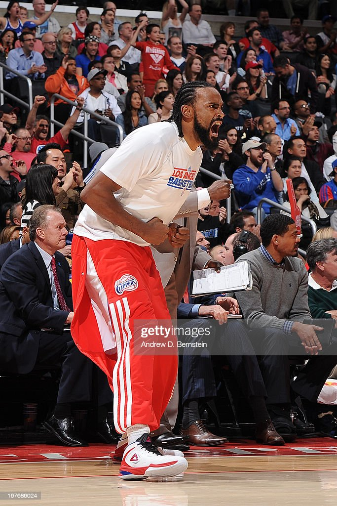 <a gi-track='captionPersonalityLinkClicked' href=/galleries/search?phrase=Ronny+Turiaf&family=editorial&specificpeople=224998 ng-click='$event.stopPropagation()'>Ronny Turiaf</a> #21 of the Los Angeles Clippers reacts during the game against the Indiana Pacers at Staples Center on April 1, 2013 in Los Angeles, California.