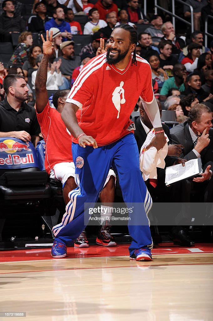 Ronny Turiaf #21 of the Los Angeles Clippers reacts from the sidelines during the game between the Los Angeles Clippers and the Sacramento Kings at Staples Center on December 1, 2012 in Los Angeles, California.