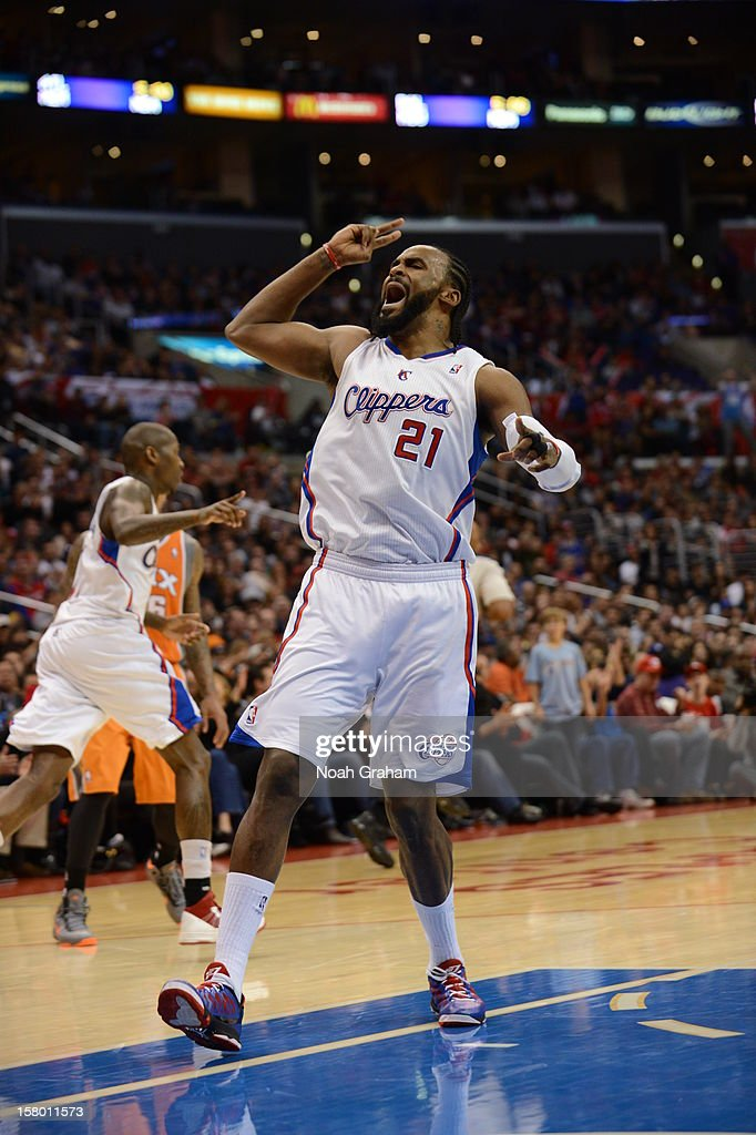 Ronny Turiaf #21 of the Los Angeles Clippers reacts in a game against the Phoenix Suns at Staples Center on December 8, 2012 in Los Angeles, California.