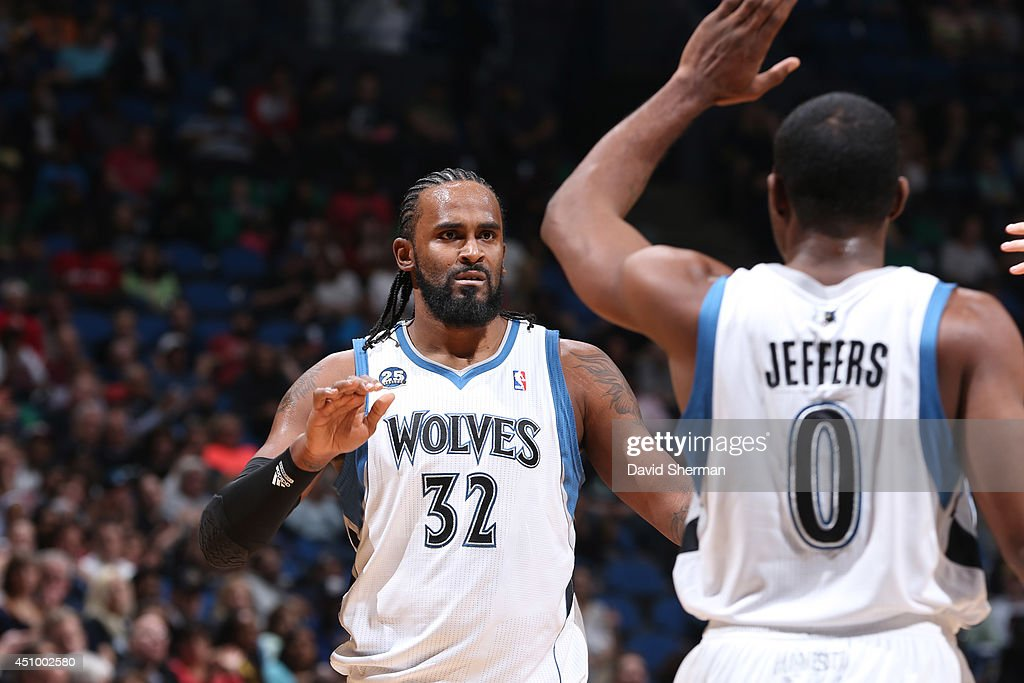 <a gi-track='captionPersonalityLinkClicked' href=/galleries/search?phrase=Ronny+Turiaf&family=editorial&specificpeople=224998 ng-click='$event.stopPropagation()'>Ronny Turiaf</a> #32 of the Minnesota Timberwolves celebrates with teammates during the game against the Chicago Bulls on April 9, 2014 at Target Center in Minneapolis, Minnesota.
