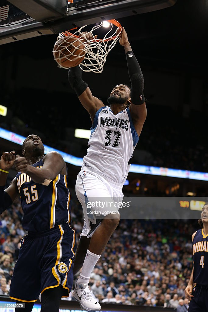 <a gi-track='captionPersonalityLinkClicked' href=/galleries/search?phrase=Ronny+Turiaf&family=editorial&specificpeople=224998 ng-click='$event.stopPropagation()'>Ronny Turiaf</a> #32 of the Minnesota Timberwolves dunks the ball against the Indiana Pacers on February 19, 2014 at Target Center in Minneapolis, Minnesota.