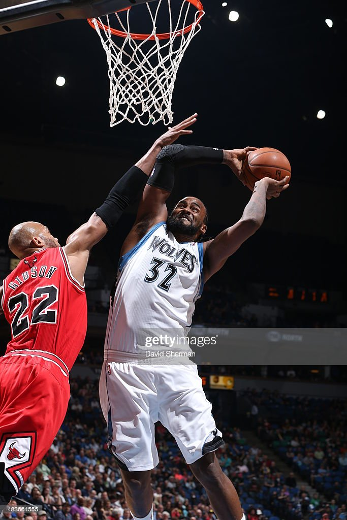 Ronny Turiaf #32 of the Minnesota Timberwolves goes up for the shot against the Chicago Bulls during the game on April 9, 2014 at Target Center in Minneapolis, Minnesota.