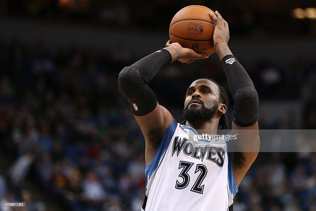 <a gi-track='captionPersonalityLinkClicked' href=/galleries/search?phrase=Ronny+Turiaf&family=editorial&specificpeople=224998 ng-click='$event.stopPropagation()'>Ronny Turiaf</a> #32 of the Minnesota Timberwolves shoots the ball against the Indiana Pacers on February 19, 2014 at Target Center in Minneapolis, Minnesota.