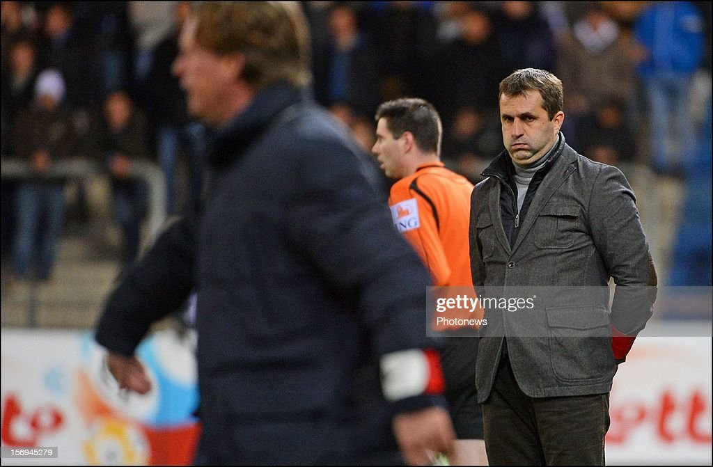 Ronny Van Geneugden coach of OHL in action during the Jupiler League match between KRC Genk and Oud Heverlee Leuven OHL on November 25, 2012 in Genk, Belgium.
