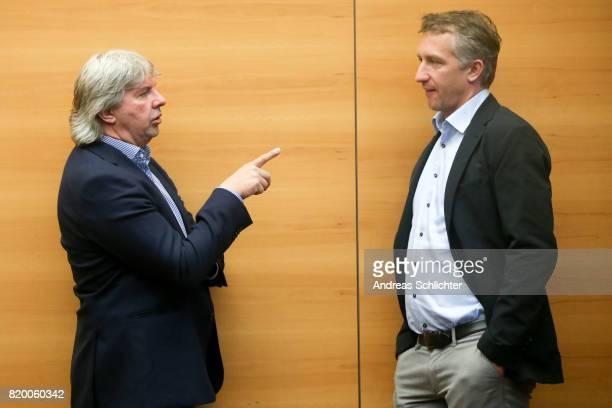 Ronny Zimmermann and Frank Baumann at DFB Headquarter on July 19 2017 in Frankfurt am Main Germany