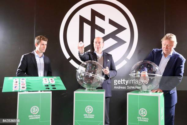 Ronny Zimmermann Christian Pothe and Horst Hrubesch of DFBPokal Junioren Cupdraw on September 4 2017 in Stuttgart Germany