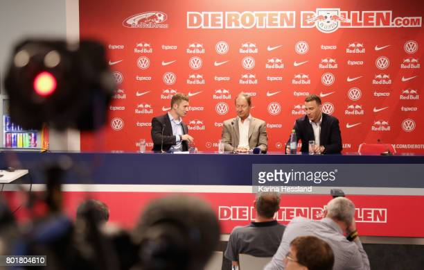 Ronny Zimmermann Hellmut Krug und Felix Zwayer during the DFB Video Referee Media Workshop at Red Bull Arena on June 27 2017 in Leipzig Germany