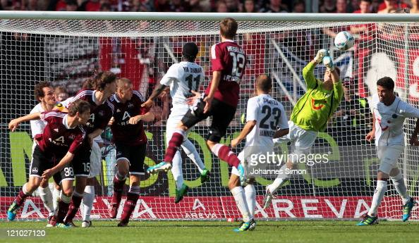 RonRobert Zieler goalkeeper of Hannover saves the ball during the Bundesliga match between 1 FC Nuernberg and Hannover 96 at Easy Credit Stadium on...