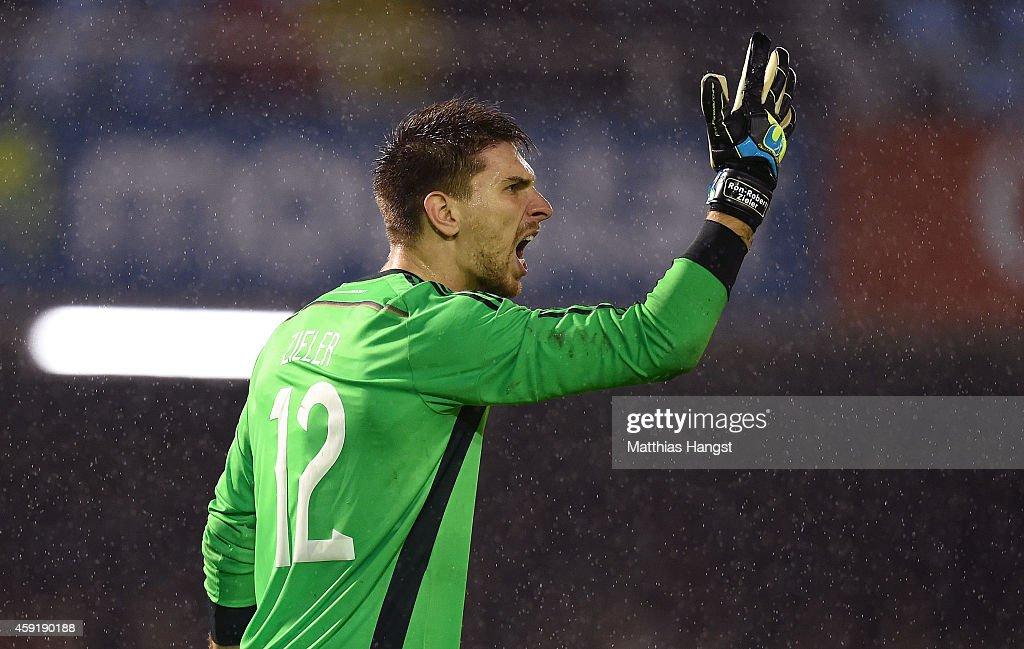 RonRobert Zieler of Germany shouts during the International Friendly match between Spain and Germany at Estadio Balaidos on November 18 2014 in Vigo...