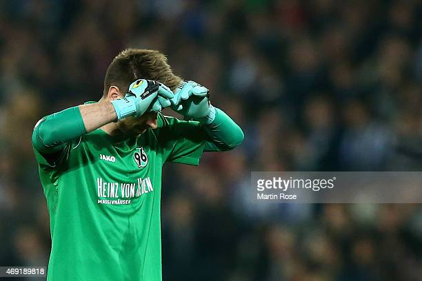 RonRobert Zieler of Hannover 96 reacts during the Bundesliga match between Hannover 96 and Hertha BSC at HDIArena on April 10 2015 in Hanover Germany