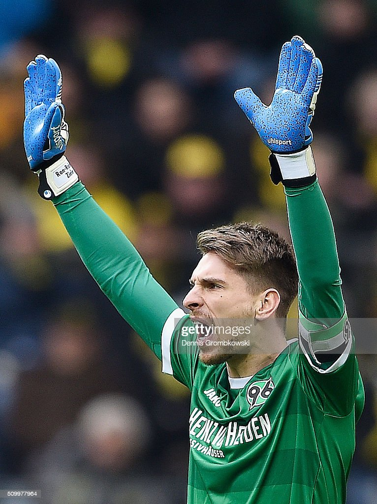 <a gi-track='captionPersonalityLinkClicked' href=/galleries/search?phrase=Ron-Robert+Zieler&family=editorial&specificpeople=727037 ng-click='$event.stopPropagation()'>Ron-Robert Zieler</a> of Hannover 96 reacts during the Bundesliga match between Borussia Dortmund and Hannover 96 at Signal Iduna Park on February 13, 2016 in Dortmund, Germany.