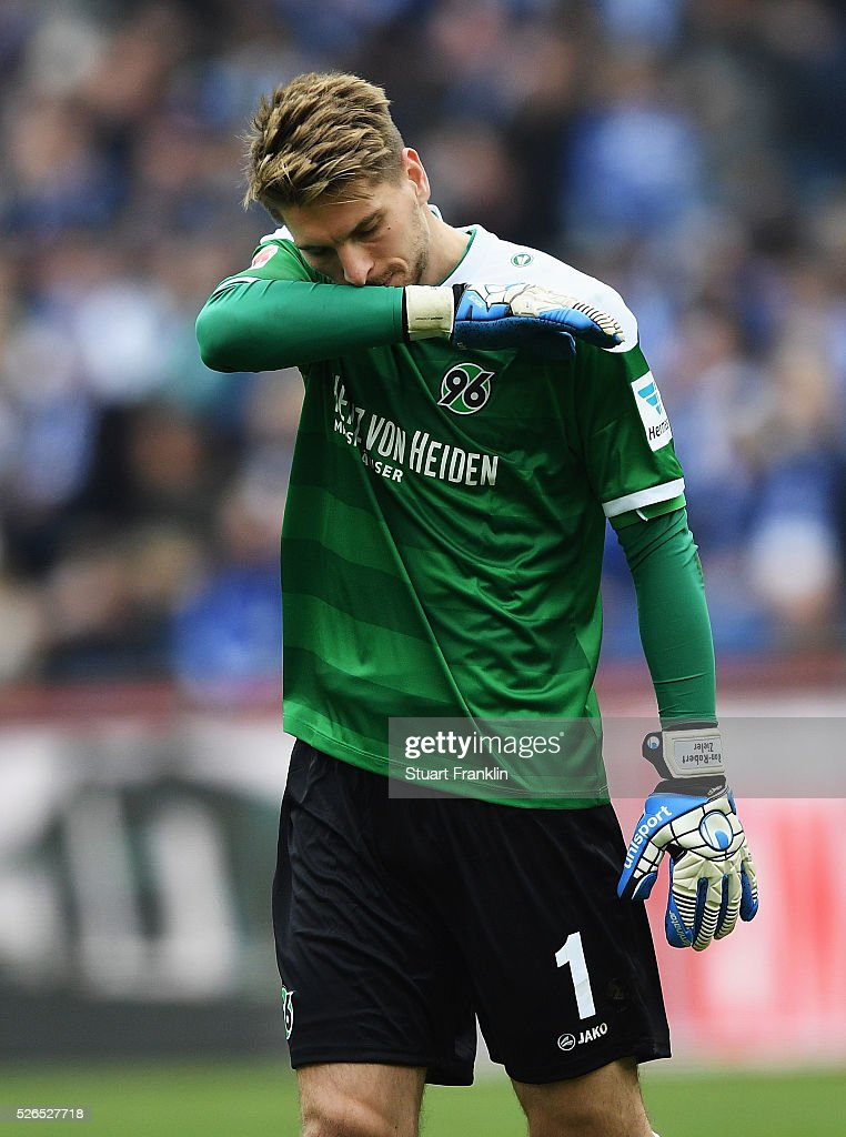 Ron-Robert Zieler of Hannover reacts during the Bundesliga match between Hannover 96 and FC Schalke 04 at the HDI Arena on April 30, 2016 in Hanover, Lower Saxony.