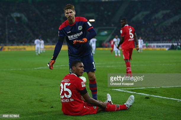 RonRobert Zieler of Hannover throws items which wehere thrown at Marcelo of Hannover from the pitch during the Bundesliga match between Borussia...