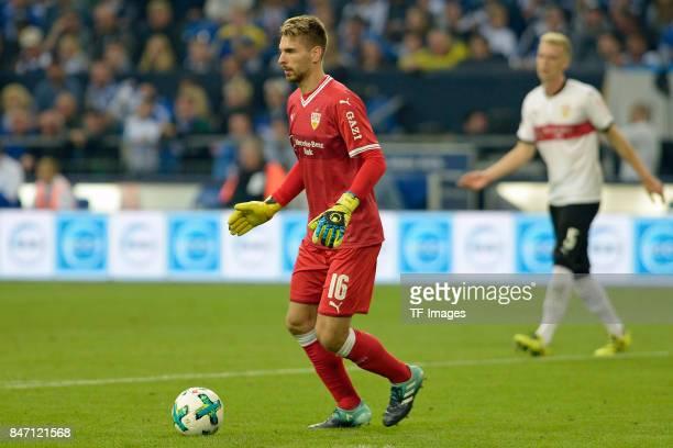 RonRobert Zieler of Stuttgart controls the ball during the Bundesliga match between FC Schalke 04 and VfB Stuttgart at VeltinsArena on September 10...