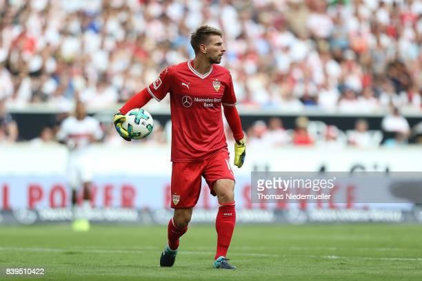 RonRobert Zieler of Stuttgart in action withthe ball during the Bundesliga match between VfB Stuttgart and 1 FSV Mainz 05 at MercedesBenz Arena on...