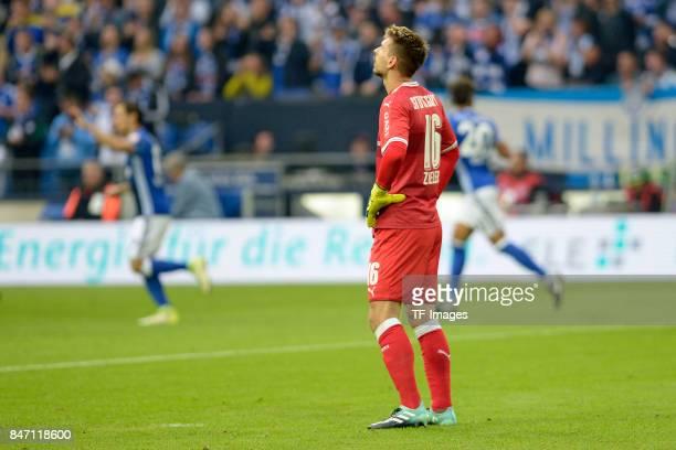 RonRobert Zieler of Stuttgart looks on during the Bundesliga match between FC Schalke 04 and VfB Stuttgart at VeltinsArena on September 10 2017 in...