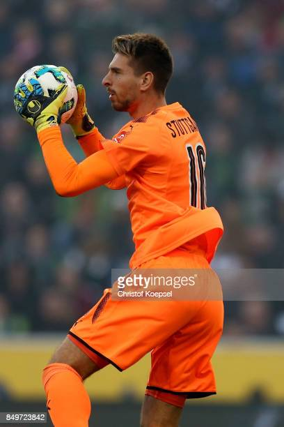 RonRobert Zieler Of Stuttgart picks uop the ball during the Bundesliga match between Borussia Moenchengladbach and VfB Stuttgart at BorussiaPark on...