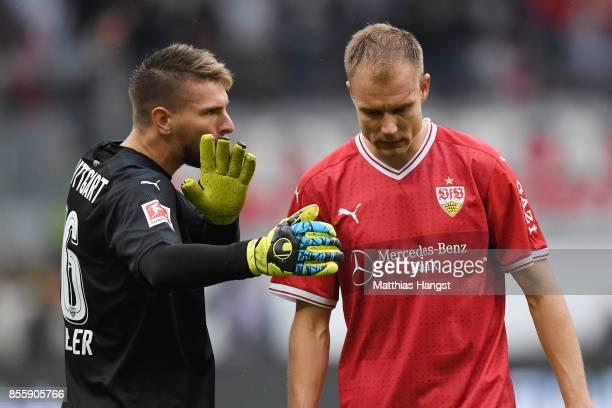 RonRobert Zieler of Stuttgart with Holger Badstuber of Stuttgart dejected after their late loss after the Bundesliga match between Eintracht...