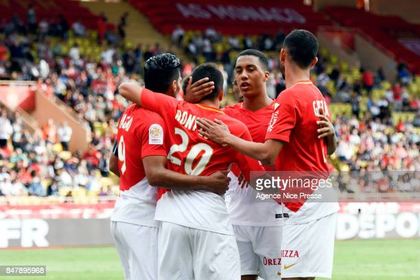 Rony LOPES celebrates his goal with Rachid GHEZZAL and Stevan JOVETIC and Radamel FALCAO and Youri TIELEMANS during the Ligue 1 match between AS...