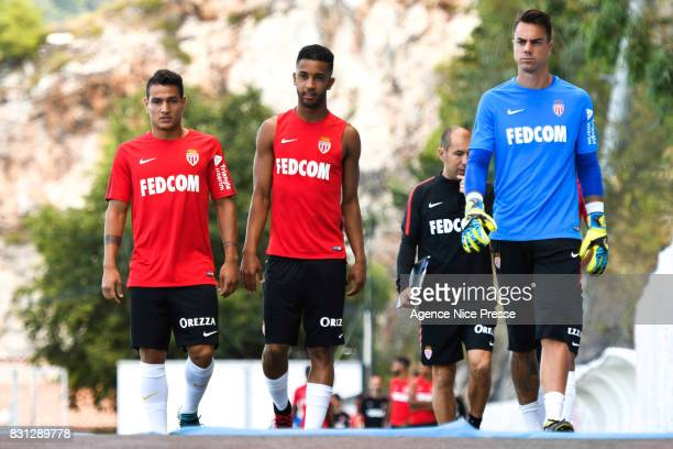 Rony Lopes Jorge and Diego Benaglio of Monaco during training session of As Monaco on August 11 2017 in Monaco Monaco