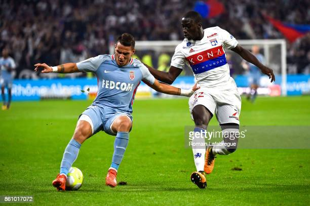 Rony Lopes of Monaco and Ferland Mendy of Lyon during the Ligue 1 match between Olympique Lyonnais and AS Monaco at Stade des Lumieres on October 13...