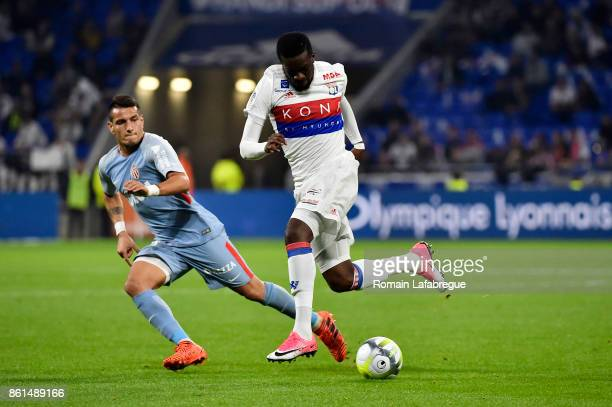 Rony Lopes of Monaco and Tanguy Ndombele Alvaro during the Ligue 1 match between Olympique Lyonnais and AS Monaco at Stade des Lumieres on October 13...