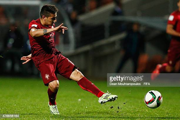 Rony Lopes of Portugal shoots on goal during the FIFA U20 World Cup New Zealand 2015 Round of 16 match between Portugal and New Zealand at Waikato...