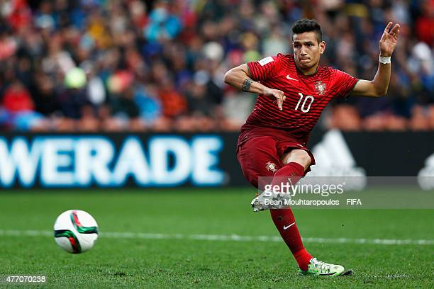 Rony Lopes of Portugal takes and scores a penalty in the shoot out during the FIFA U20 World Cup New Zealand 2015 quarter final match between Brazil...