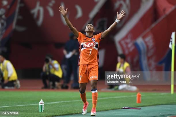 Rony of Albirex Niigata celebrates scoring his side's second goal during the JLeague J1 match between Albirex Niigata and Kashima Antlers at Denka...