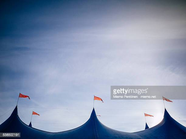 Roof of a blue festival tent