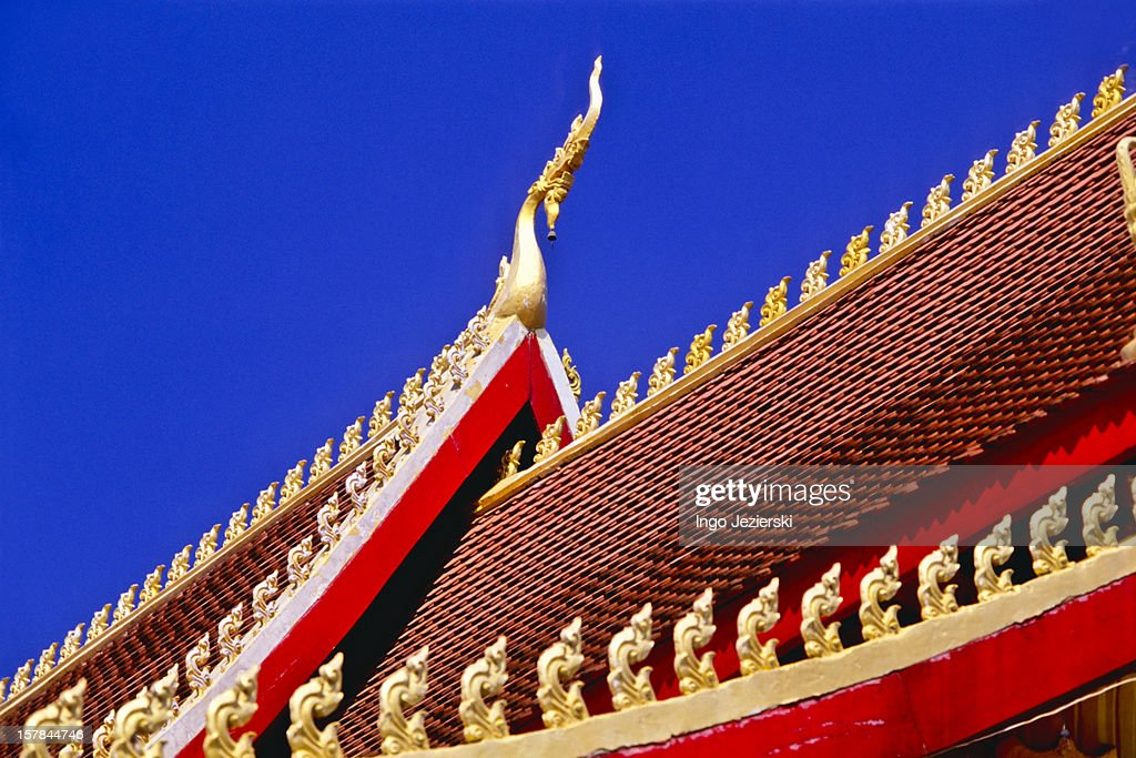 Roof of a Buddhist temple, Laos : Stock Photo