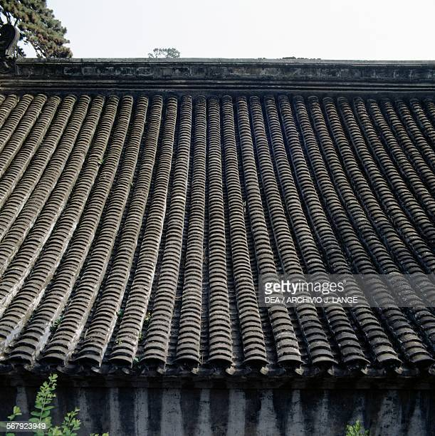 Roof of a pavilion in Tanzhe temple Beijing China
