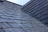 Roof of house in slate tiles - Brittany in France