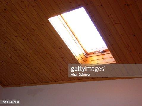 Roof skylight wooden window : Stock Photo