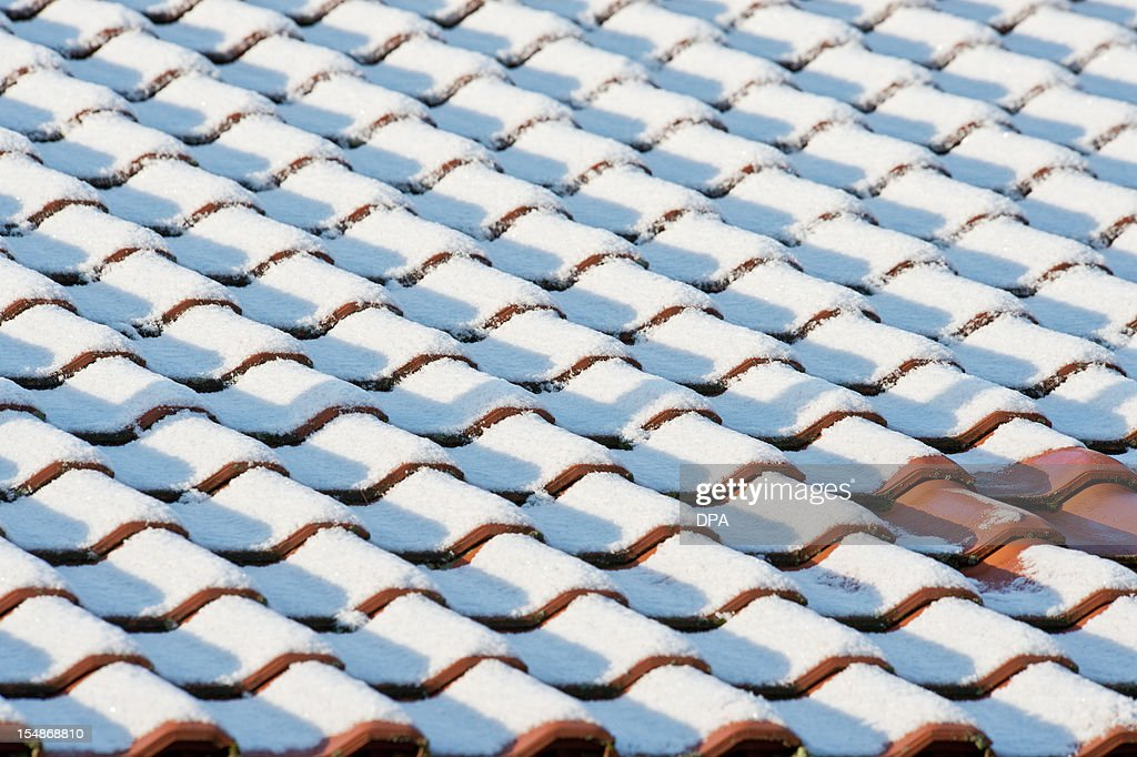 Roof tiles are covered in snow in Bamberg, southern Germany, on October 28, 2012. The first snow of the season fell in parts of southern and eastern Germany.