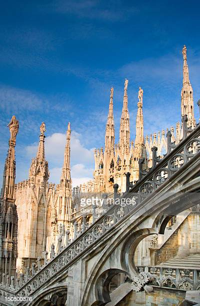 Roof top view of Duomo Cathedral of Milan