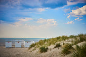 Sandy beach of North Sea / Vacation in northern europe